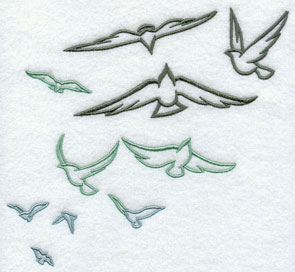 A flock of birds machine embroidery design.