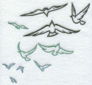 A flock of birds machine embroidery design.