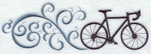 A bicycle and filigree machine embroidery design.