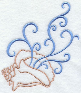 A conch shell and filigree machine embroidery design.