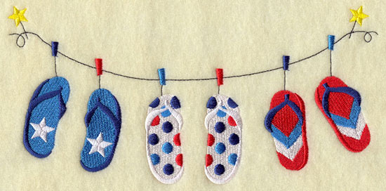 A patriotic clothesline machine embroidery design with red, white, and blue flip-flops.