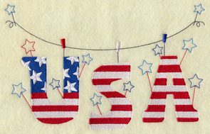 A patriotic clothesline machine embroidery design with letters USA and stars.
