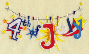 A patriotic clothesline machine embroidery design with the phrase 4th of July.