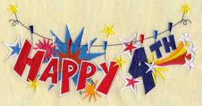A patriotic clothesline machine embroidery design with the phrase Happy 4th.