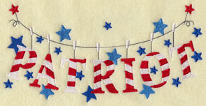 A patriotic clothesline machine embroidery design with the word Patriot in red and white stripes.