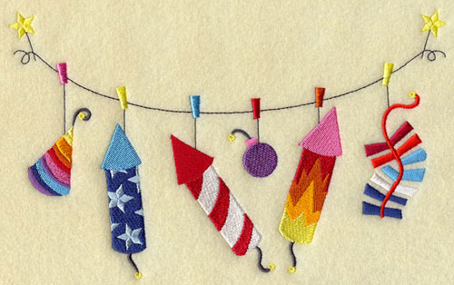 A patriotic clothesline machine embroidery design with firecrackers.