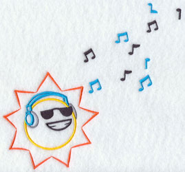 Sun with sunglasses and headphones machine embroidery design.