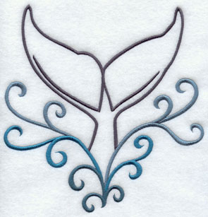 A whale tail machine embroidery design.