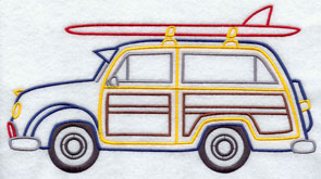 A woody wagon and surfboard machine embroidery design.