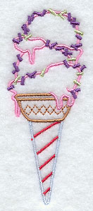Ice cream cone with sprinkles machine embroidery design.