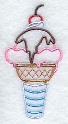 Ice cream sundae in a cone machine embroidery design.