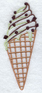 Mint chocolate chip ice cream cone machine embroidery design.