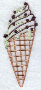 Mint chocolate chip ice cream cone machine embroidery design.