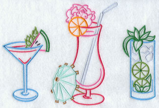Trio of tropicl drinks machine embroidery design.