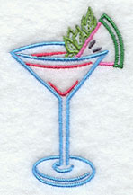 Tropical drink machine embroidery design.