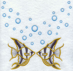 Angelfish and ocean bubbles machine embroidery design.