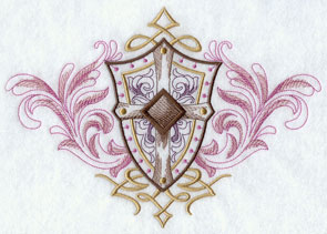 Crest with filigree and shield machine embroidery design.