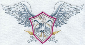 Crest with eagle wings and swords machine embroidery design.