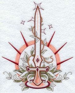 Fancy sword machine embroidery design.