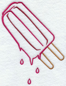 Popsicle melting machine embroidery design.