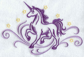 A unicorn and stars machine embroidery design.