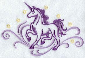 A unicorn and stars machine embroidery design.