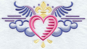 A heart and clouds crest machine embroidery design.