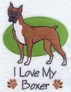 """I Love My Boxer"" dog machine embroidery design."