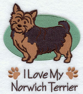 """I Love My Norwich Terrier"" dog machine embroidery design."