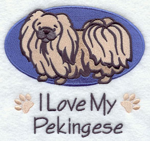 I Love My Pekingese dog machine embroidery design.