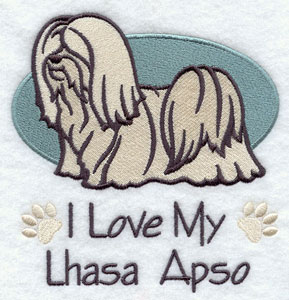 """I Love My Lhasa Apso"" dog machine embroidery design."