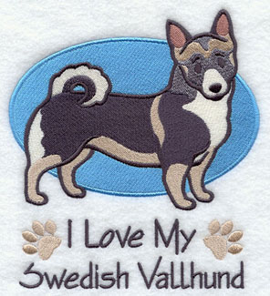 I Love My Swedish Vallhund dog machine embroidery design.