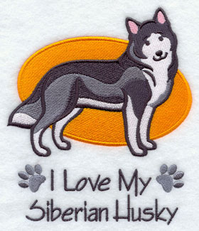 """I Love My Siberian Husky"" dog machine embroidery design."