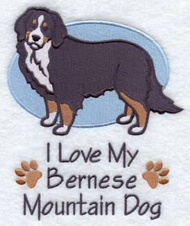 I Love My Bernese Mountain dog machine embroidery design.
