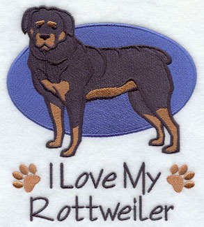 I Love My Rottweiler dog machine embroidery design.