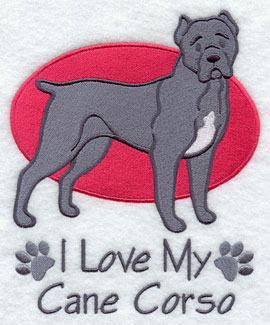 I Love My Cane Corso dog machine embroidery design.
