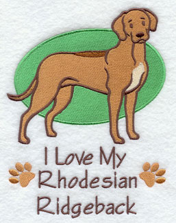 I Love My Rhodesian Ridgeback dog machine embroidery design.