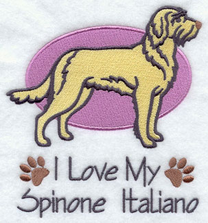I Love My Spinone Italiano dog machine embroidery design.