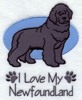 I Love My Newfoundland dog machine embroidery design.