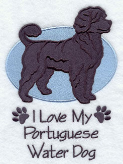 """I Love My Portuguese Water Dog"" dog machine embroidery design."