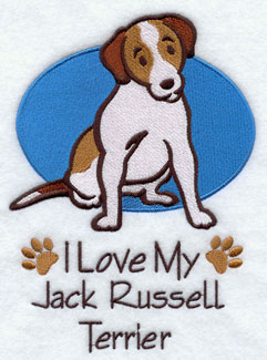 """I Love My Jack Russell Terrier"" dog machine embroidery design."