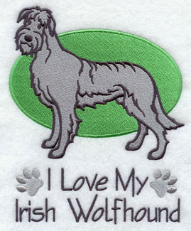 I Love My Irish Wolfhound dog machine embroidery design.