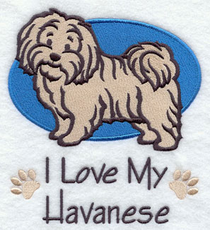 I Love My Havanese dog machine embroidery design.