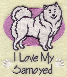 I Love My Samoyed dog machine embroidery design.