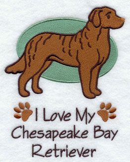 I Love My Chesapeake Bay Retriever dog machine embroidery design.