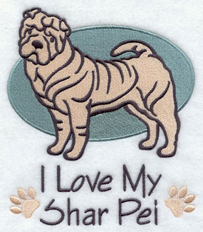 I Love My Shar Pei dog machine embroidery design.