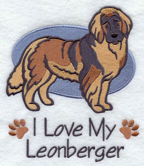 I Love My Leonberger dog machine embroidery design.