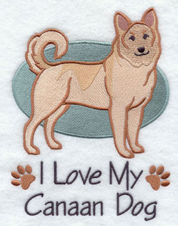 I Love My Canaan dog machine embroidery design.