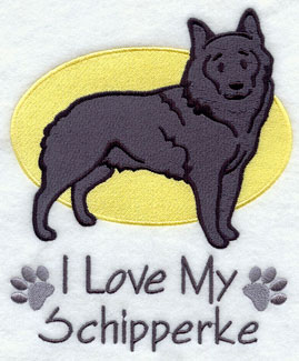 I Love My Schipperke dog machine embroidery design.