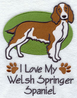 I Love My Welsh Springer Spaniel dog machine embroidery design.